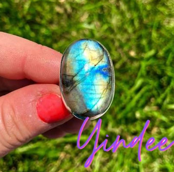 Natural Labradorite Rings Silver 7