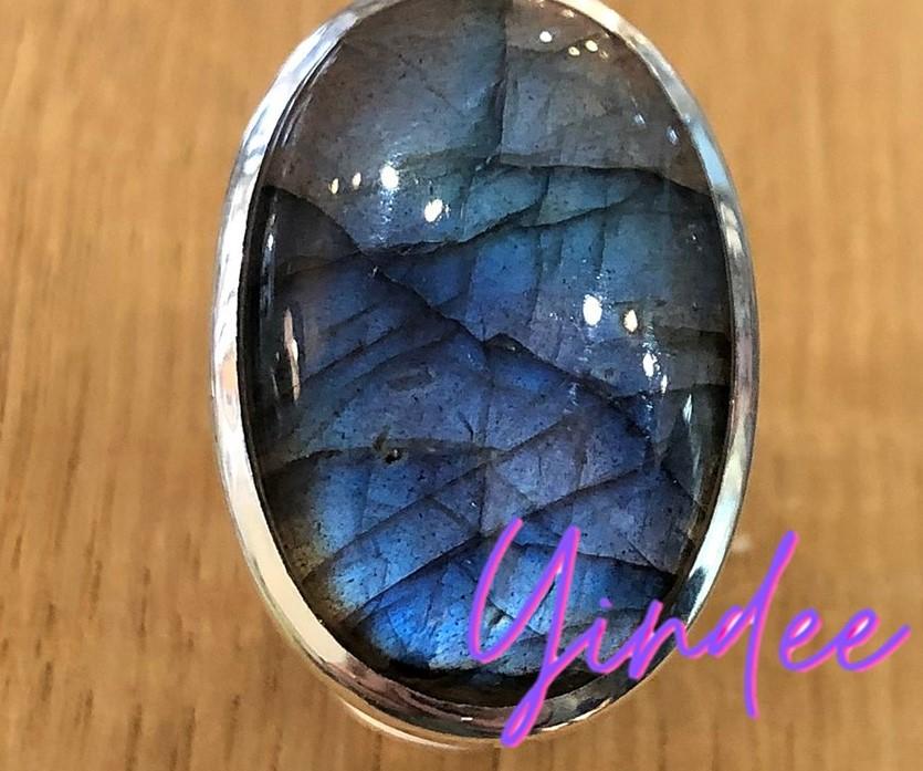 Natural Labradorite Rings Silver 6