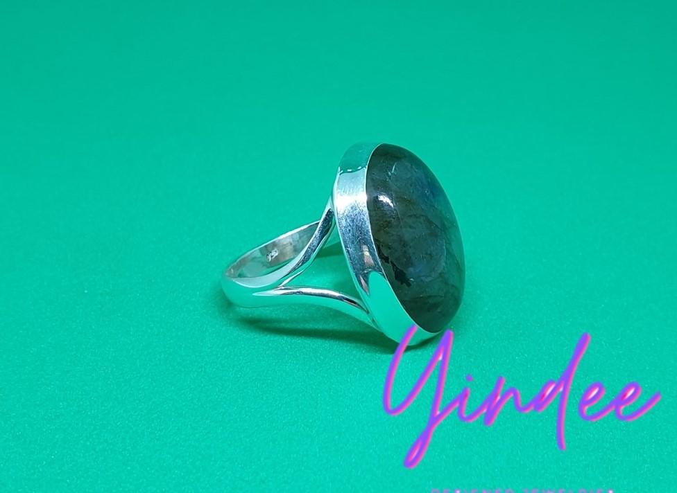 Natural Labradorite Rings Silver